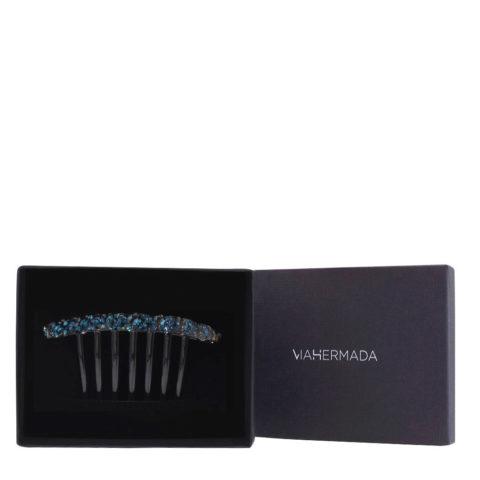 VIAHERMADA Pince à peigne en plastique avec cristaux bleus