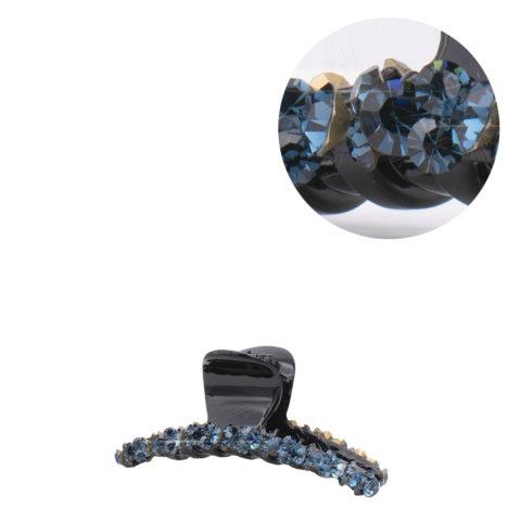 VIAHERMADA Pince à cheveux avec cristaux bleus obliques