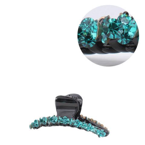 VIAHERMADA Pince à cheveux avec cristaux obliques verts