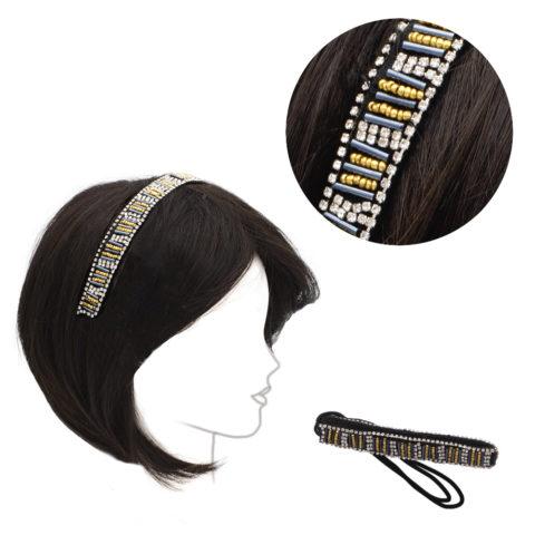 VIAHERMADA Bandeau élastiqué avec perles en métal doré et noir