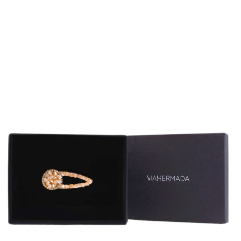 VIAHERMADA Barrette à cheveux avec strass et verre Multi Facetté Rose 5.5cm