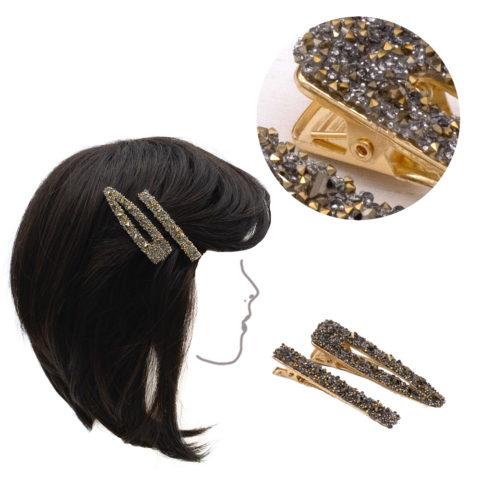 VIAHERMADA Lot de deux clips en métal doré avec strass dorés et anthracite