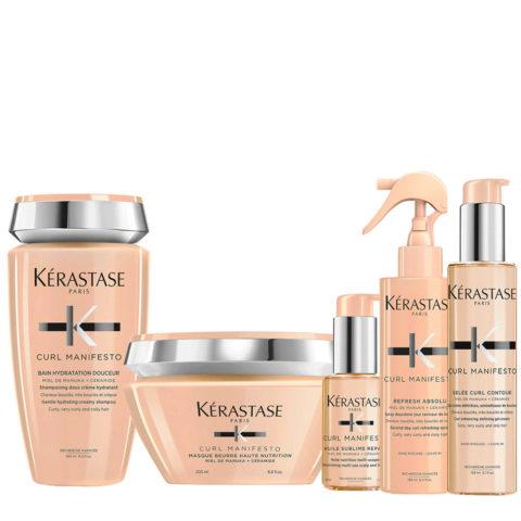 Kerastase Curl Manifesto Kit Shampoo250ml Masque200ml L'Huile Precieuse 50ml Spray150ml Crème150ml