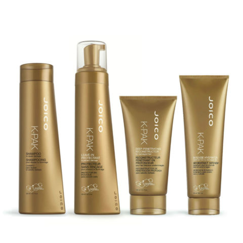 Joico K-Pak New Reconstruction therapy 4 steps: Shampoo, Leave-in protectant, D